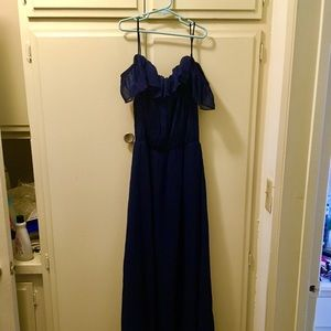 H&M navy cold-shoulder maxi dress